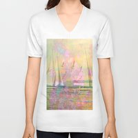 sailboat V-neck T-shirts featuring Sailboat Flyby by 3crows