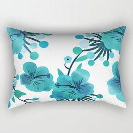 Turquoise Flower Delight Rectangular Pillow