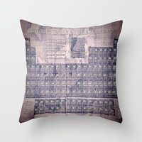 periodic table Throw Pillows featuring periodic table of elements by Bekim ART