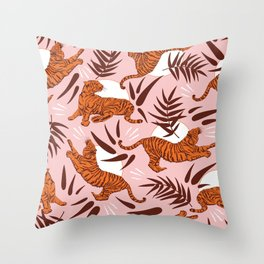 Vibrant Wilderness / Tigers on Pink Throw Pillow