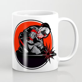 Welder working in the mask in the weld metal sparks Coffee Mug