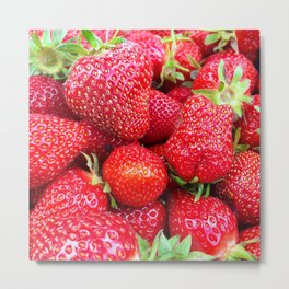 Close-up of Fresh Strawberries Metal Print