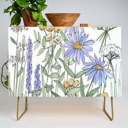 Asters and Wild Flowers Botanical Nature Floral Credenza