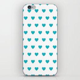 Polka dot hearts - turquoise iPhone Skin