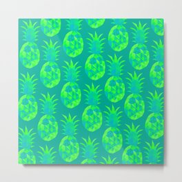 bold fruity green pineapples pattern print design Metal Print