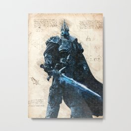 Arthas Lich King wow da vinci style sketch Metal Print