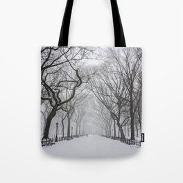 Central Park during Blizzard of 2015 Tote Bag