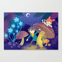 pixies Canvas Prints featuring Chasing Pixies by Miski