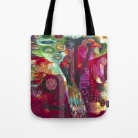 "flora bowley Tote Bags featuring ""True Nature"" Original Painting by Flora Bowley by Flora Bowley"