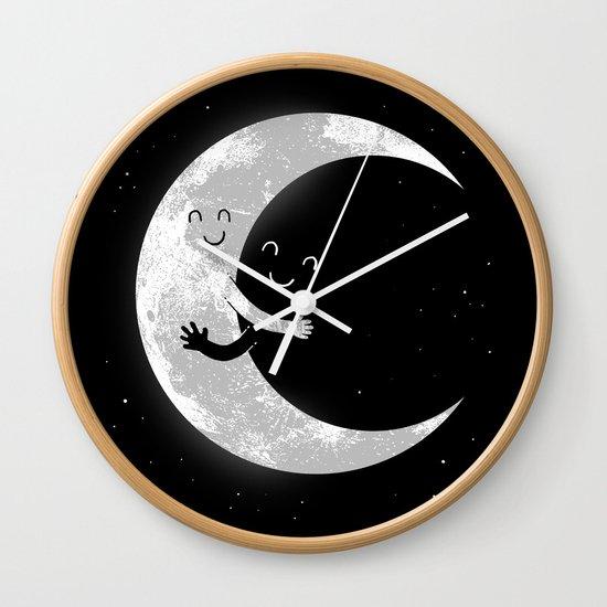 Moon Hug Wall Clock