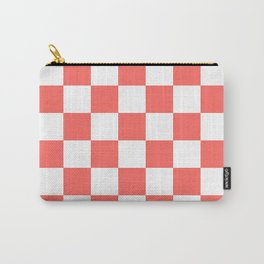 Checkered - White and Pastel Red Carry-All Pouch