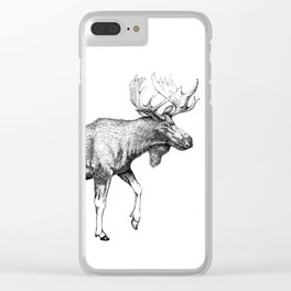 Bull Moose - Pen and Ink Clear iPhone Case