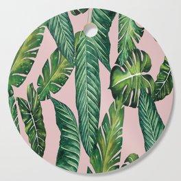 Jungle Leaves, Banana, Monstera II Pink #society6 Cutting Board