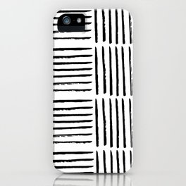 Modern black white watercolor paint brushstrokes iPhone Case
