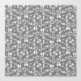 Gray Floral Pattern Canvas Print