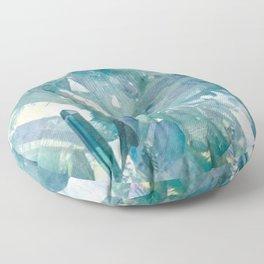 Sparkling Light Blue Crystal Shards Floor Pillow