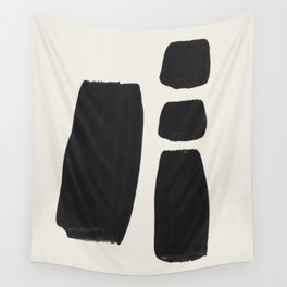 Mid Century Modern Minimalist Abstract Art Brush Strokes Black & White Ink Art Square Shapes Wall Tapestry
