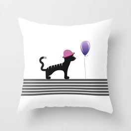 Cat With Hat Throw Pillow