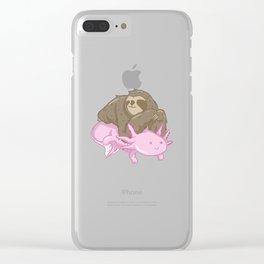 Cute Axolotl Sloth Water Aquarium Pet Animal Gift Clear iPhone Case