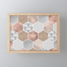 Gentle rose gold and marble hexagons Framed Mini Art Print