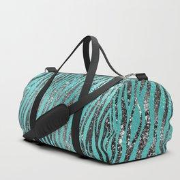 Glam Aqua and Gray Tiger Print Sparkle Pattern Duffle Bag
