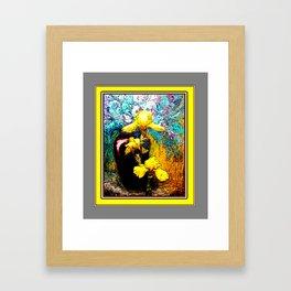 Yellow-Grey Iris  Dark-Redish Vase Still Life Ar Framed Art Print
