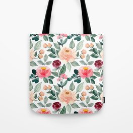 Pink Peach and Red Flowers Tote Bag