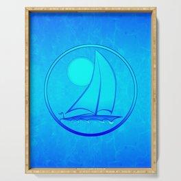 Ocean Blue Sailboat Serving Tray
