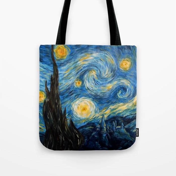A Starry Night at Hogwarts Tote Bag