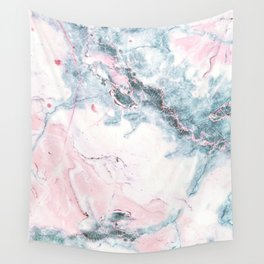 Blue and Pink Marble Wall Tapestry