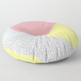 80's Retro Pattern in Yellow and Pink Floor Pillow
