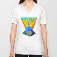 racoon V-neck T-shirts featuring Crystal Racoon by Cariann Dominguez