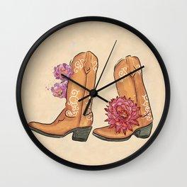 Boots Traveler Succulent Flowers_Lavender & Red palette _ digital modern watercolor Wall Clock