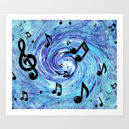 Musical Blue Art Print
