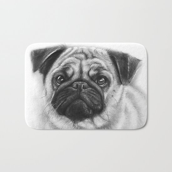 Cute Pug Dog Animal Pugs Portrait Bath Mat