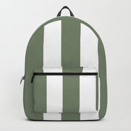 Camouflage green - solid color - white vertical lines pattern Backpack