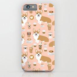 Corgi coffee welsh corgis dog breed pet lovers pink corgi crew pet lovers iPhone Case