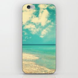 Retro beach and turquoise sky (square) iPhone Skin