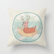 Deer Across the Sea Throw Pillow