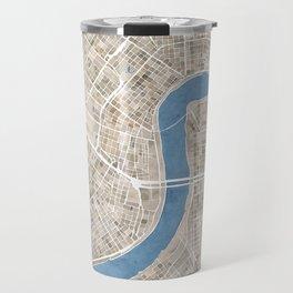 New Orleans Cobblestone Watercolor Map Travel Mug