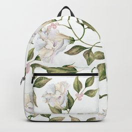 Pink And White Flower Garden Backpack