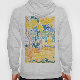 Pines on the Coastline Henri-Edmond Cross Neo-Impressionism Pointillism Watercolor Painting Hoody