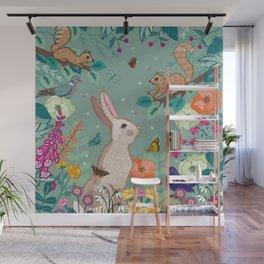 Hare, Squirrel & Blackbird Wall Mural