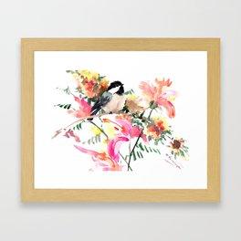 Chickadee bird art design, Birds and Flowers Framed Art Print