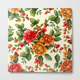 Pixel Floral - Red on White Metal Print