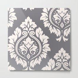 Decorative Damask Art I Cream on Grey Metal Print
