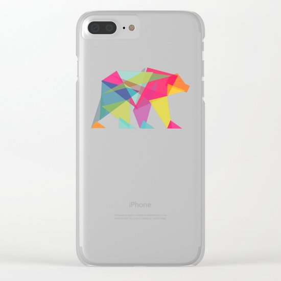 Fractal Bear - neon colorways Clear iPhone Case