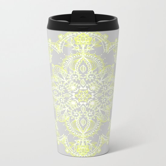 Pale Lemon Yellow Lace Mandala on Grey Metal Travel Mug