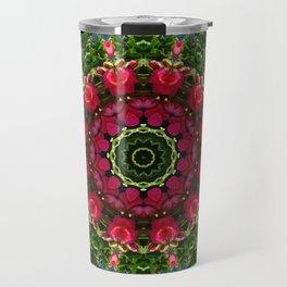 Floral mandala-style, red blossoms Travel Mug