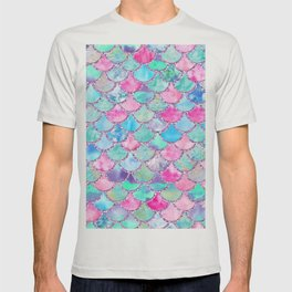 Colorful Pink and Blue Watercolor Trendy Glitter Mermaid Scales T-shirt